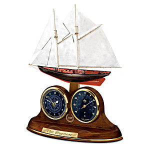 """The Bluenose"" Sculptural Desk Clock With Thermometer"