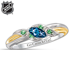 Vancouver Canucks® Pride Engraved Embrace Ring