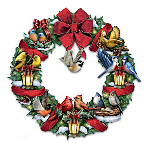 Merry Melodies Lighted Songbird Wreath Plays Holiday Carols