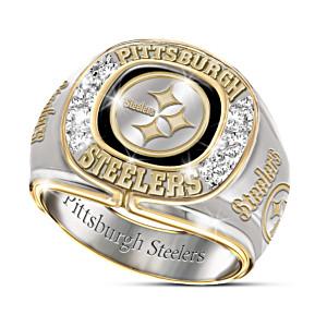 NFL-Licensed Pittsburgh Steelers 8-Diamond Men's Ring