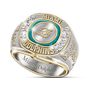 NFL-Licensed Miami Dolphins 8-Diamond Men's Ring