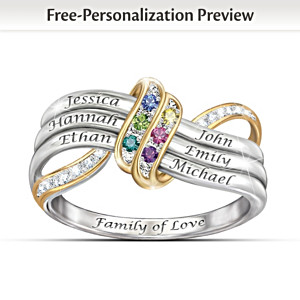 """Our Family's Forever Love"" Name-Engraved Birthstone Ring"