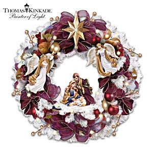 """Christmas Blessings"" Illuminated Nativity Wreath"