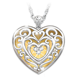 """Glowing With Beauty"" Engraved Diamond Pendant For Daughters"