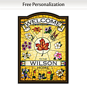 """Canadian Provincial Flowers"" Personalized Welcome Sign"
