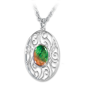 """Natural Radiance"" Ammolite Pendant Necklace"