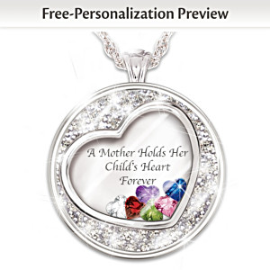 Mother Holds Her Child's Heart Birthstone Pendant With Names