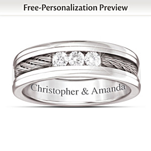 """The Strength Of Our Love"" Personalized Men's Diamond Ring"