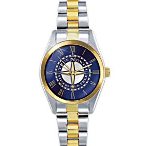 True North Etched Compass Design Two-Toned Women's Watch