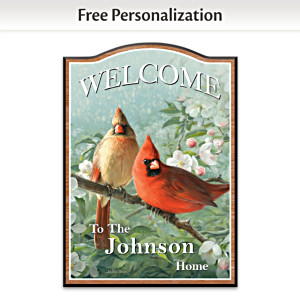 James Hautman Cardinal Art Personalized Welcome Sign