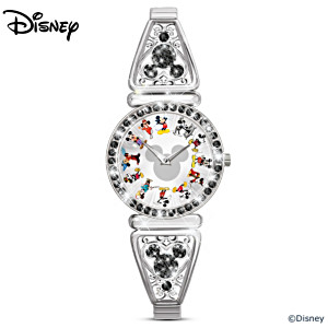 Mickey Mouse Through The Years Rotating Watch With Crystals
