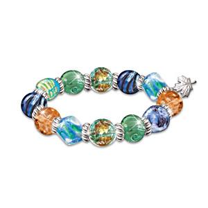 """Colours Of Canada"" Artisan Glass Bead Bracelet"