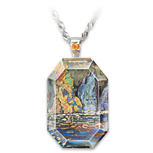 "J.E.H. MacDonald ""Little Falls"" Art Crystal Pendant Necklace"