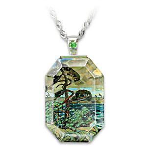 "Arthur Lismer ""September Gale"" Art Crystal Pendant Necklace"