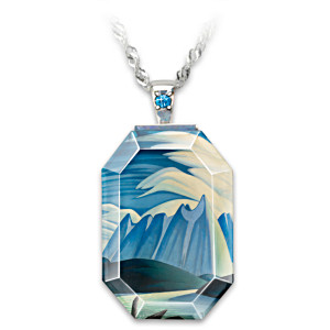 "Lawren Harris ""Lake And Mountains"" Crystal Pendant Necklace"