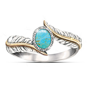 """""""Free Spirit"""" Turquoise Cabochon Sterling Silver Ring"""