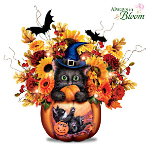 "Kayomi Harai ""Scaredy Cat"" Lighted Floral Centerpiece"