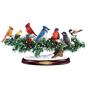 """Nature's Harmony"" Lighted Singing Songbirds Sculpture"