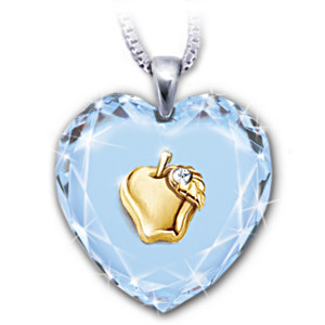 """Heart Of A Teacher"" Crystal Pendant With A Golden Apple"