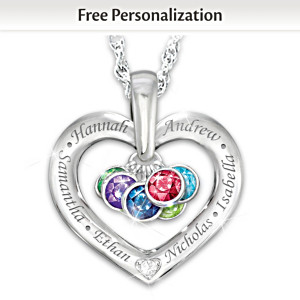 Together With Love Diamond Pendant With Names & Birthstones
