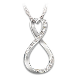 Infinity Engraved Diamond Pendant Necklace For Granddaughter