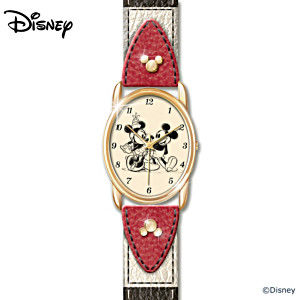 "Disney ""Timeless Love"" Mickey Mouse And Minnie Mouse Watch"