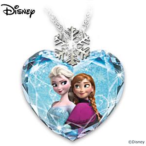 Disney FROZEN Faceted Crystal Heart Pendant Necklace