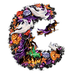 """Best Witches"" Lighted Halloween Wreath With Spooky Sounds"