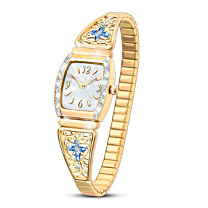 """Moments Of Faith"" Women's Stretch Watch With Crystals"