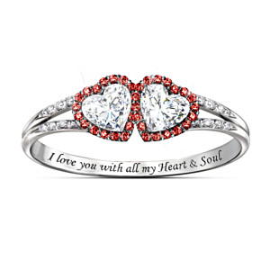 """Heart & Soul"" Topaz Ring With 48 Red And White Diamonds"