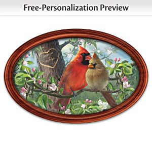 "James Hautman ""Love Birds"" Framed Plate With Your Two Names"