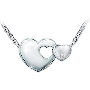 """Always My Granddaughter"" Engraved Heart Diamond Necklace"