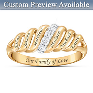 """Our Family Is Love"" Name-Engraved Diamond Ring"