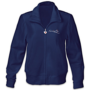 "Nurses ""Healing Hearts"" Women's Embroidered Knit Jacket"