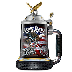 """""""Ride Hard, Live Free"""" Artistic Porcelain Motorcycle Stein"""