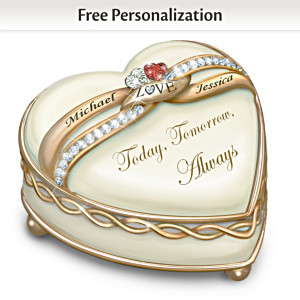"""Soul Mates"" Romantic Porcelain Heart Music Box With 2 Names"