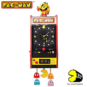Illuminated PAC-MAN Arcade Wall Clock Plays Sound Each Hour
