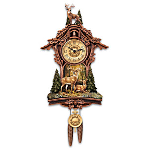 Whitetail Gathering Wall Clock With Buck Sculpture