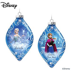 Disney FROZEN Heirloom Glass Ornaments: Elsa And Anna