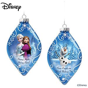 Disney FROZEN Heirloom Glass Ornaments: Elsa, Anna And Olaf