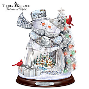 Thomas Kinkade Holiday Hugs Illuminated Musical Sculpture