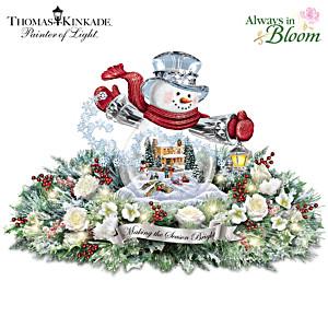 Thomas Kinkade Lighted Floral Holiday Snowman Centerpiece