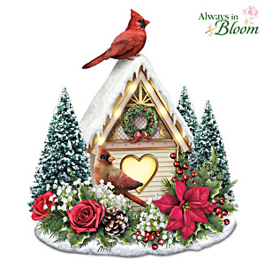 """Holiday Harmony"" Illuminated Centrepiece With Cardinals"