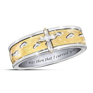 """Footprints In The Sand"" Engraved Topaz Spinning Ring"