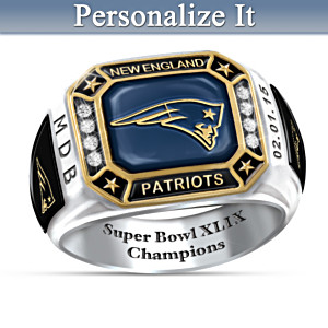 Super Bowl XLIX Champions Patriots Personalized Men's Ring