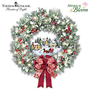 "Thomas Kinkade ""A Holiday Homecoming"" Lighted Musical Wreath"