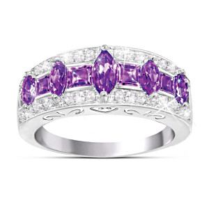 """Purple Rhapsody"" Amethyst And Diamond Women's Ring"
