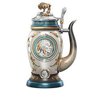 Genuine Buffalo Nickel Coin Porcelain Stein