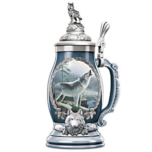 """""""Noble Guardian"""" Porcelain Stein With Kevin Daniel Wolf Art"""
