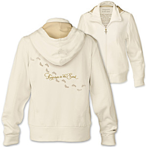 """Footprints In The Sand"" Women's Hoodie With Poem On Lining"